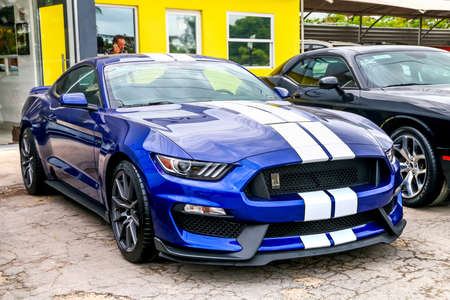 CANCUN, MEXICO - JUNE 3, 2017: Supercar Shelby Mustang in the city street.