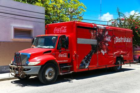 TULUM, MEXICO - MAY 17, 2017: Coca-Cola truck International DuraStar in the city street.
