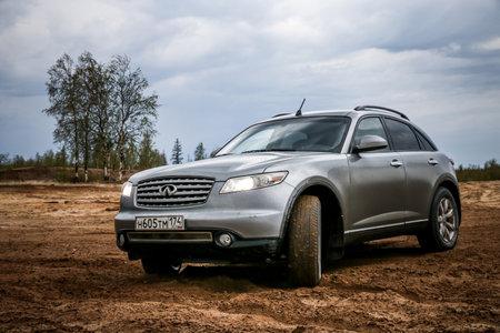 NOVYY URENGOY, RUSSIA - JUNE 19, 2017: Motor car Infiniti FX35 at the countryside.