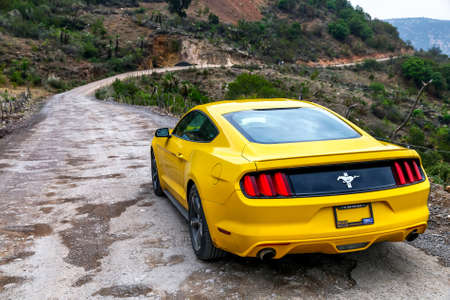 OAXACA, MEXICO - MAY 26, 2017: Motor car Ford Mustang at the countryside.