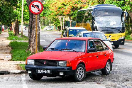 HAVANA, CUBA - JUNE 6, 2017: Motor car Moskvitch 2141 Aleko in the city street.