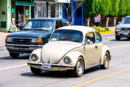 affordable: OAXACA, MEXICO - MAY 25, 2017: Motor car Volkswagen Beetle in the city street.