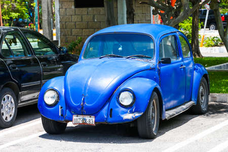 CANCUN, MEXICO - MAY 16, 2017: Motor car Volkswagen Beetle in the city street. Editorial