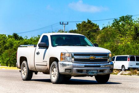 light duty: QUINTANA ROO, MEXICO - MAY 16, 2017: Pickup truck Chevrolet Cheyenne at the interurban road.