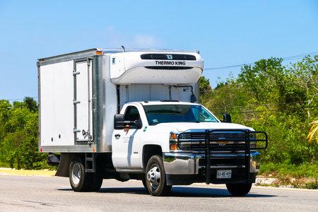 QUINTANA ROO - MAY 16, 2017: Refrigerator truck Chevrolet Silverado at the interurban road. Editorial