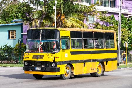 HAVANA, CUBA - JUNE 6, 2017: Small urban bus Giron VI in the city street.