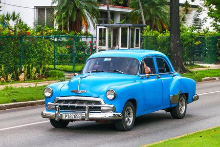 HAVANA, CUBA - JUNE 6, 2017: Motor car Chevrolet Deluxe in the city street.