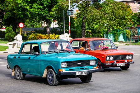 HAVANA, CUBA - JUNE 6, 2017: Soviet cars Moskvitch 2140SL and Lada 2106 in the city street.