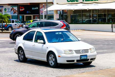 CANCUN, MEXICO - MAY 16, 2017: Motor car Volkswagen Clasico in the city street.