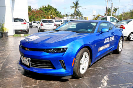 Acapulco, Mexico - May 29, 2017: Dark blue muscle car Chevrolet Camaro in the city street. Editorial