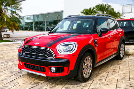 CANCUN, MEXICO - JUNE 4, 2017: Brand new motor car Mini Cooper Countryman in the city street. Editorial