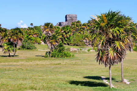 Ancient Maya ruins in Tulum, Quintana Roo, Mexico 스톡 콘텐츠