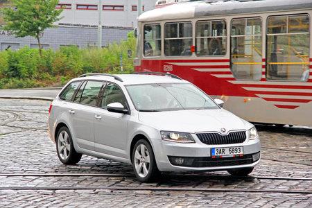 Prague, Czech Republic - July 21, 2014: Motor car Skoda Octavia in the city street.