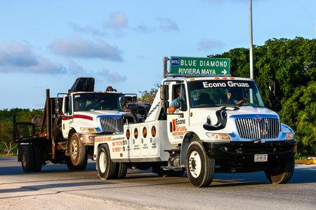 QUINTANA ROO, MEXICO - MAY 16, 2017: White tow  truck International DuraStar at the interurban road.