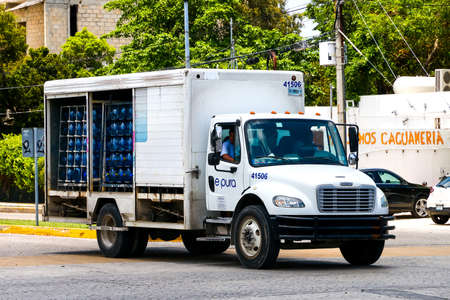 CANCUN, MEXICO - MAY 16, 2017: Small truck Freightliner Business Class in the city street.