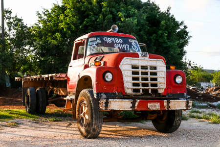 QUINTANA ROO, MEXICO - MAY 16, 2017: Aged flat-bed truck Dina D-531 at the countryside.