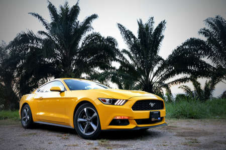 Tabasco, Mexico - May 22, 2017: Yellow supercar Ford Mustang at the countryside. 에디토리얼