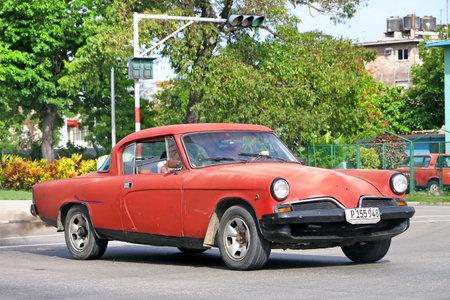 Havana, Cuba - June 6, 2017: Old motor car Studebaker Commander in the city street. Editorial