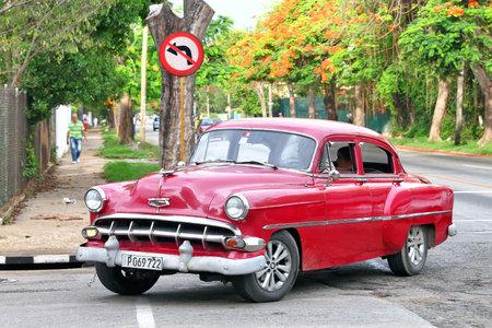 Havana, Cuba - June 6, 2017: Motor car Chevrolet Bel Air in the city street. Editorial