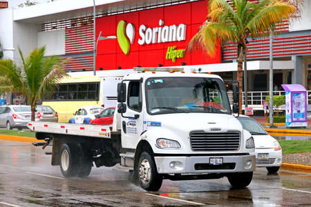 Acapulco, Mexico - May 31, 2017: Tow truck Freightliner Business Class in the city street. Editorial