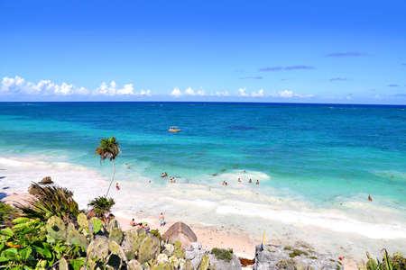 Caribbean sea beach in Tulum, Quintana Roo, Mexico Stock Photo