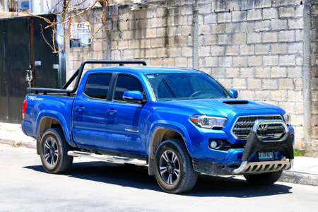 Tulum, Mexico - May 17, 2017: Pickup truck Toyota Tacoma in the city street. Editorial