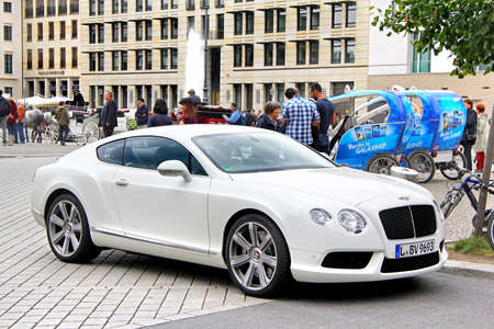 Berlin, Germany - September 12, 2013: Motor car Bentley Continental GT in the city street. Editorial
