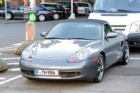 Frankfurt am Main, Germany - September 13, 2013: Motor car Porsche 986 Boxster in the city street.