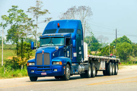 Chiapas, Mexico - May 24, 2017: Semi-trailer truck Kenworth T600 at the interurban road.