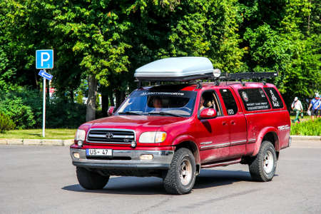 Moscow, Russia - July 7, 2012: Off-road vehicle Toyota Tundra in the city street. Editorial
