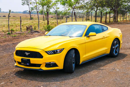 Oaxaca, Mexico - May 24, 2017: Muscle car Ford Mustang at the countryside.