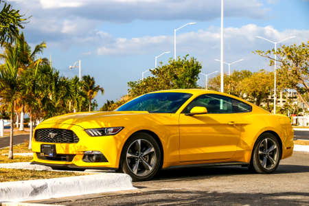 Campeche, Mexico - May 20, 2017: Muscle car Ford Mustang in the city street. Editorial