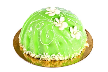 Big green cake isolated over white background