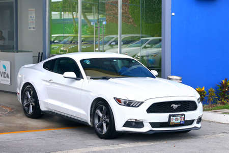 Mexico, Mexico - June 5, 2017: White sportscar Ford Mustang in the city street. Sajtókép