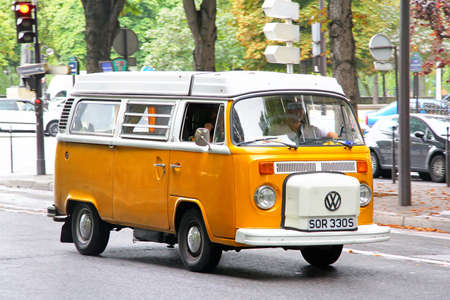 Paris, France - August 8, 2014: Passenger van Volkswagen Transporter in the city street. Editorial