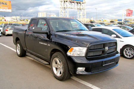 Moscow, Russia - September 29, 2012: Black pickup truck Dodge Ram 1500 in the city street.