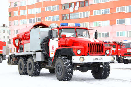 Novyy Urengoy, Russia - April 30, 2015: Fire truck Ural 4320 in the city street.