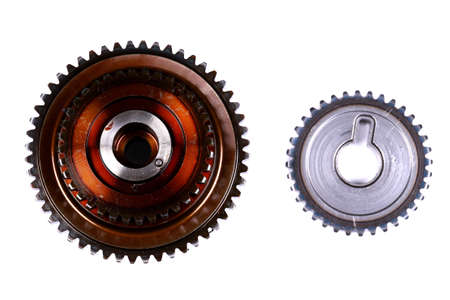 Two gears isolated over white background Stock Photo