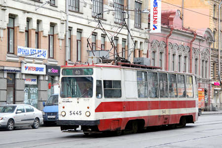 Saint Petersburg, Russia - May 26, 2013: Old tramway LM-68M in the city street.