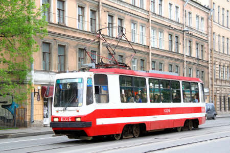 Saint Petersburg, Russia - May 26, 2013: Old tramway LM-99K in the city street. 写真素材 - 104799423