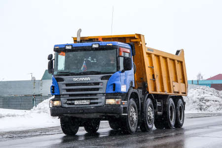 Novyy Urengoy, Russia - April 16, 2013: Dump truck Scania P420 in the city street. Editorial