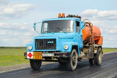 Bashkortostan, Russia - April 29, 2012: Cistern truck GAZ 3307 at the interurban road.