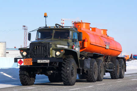 Novyy Urengoy, Russia - March 21, 2013: Semi-trailer truck Ural 44202 at the interurban road.