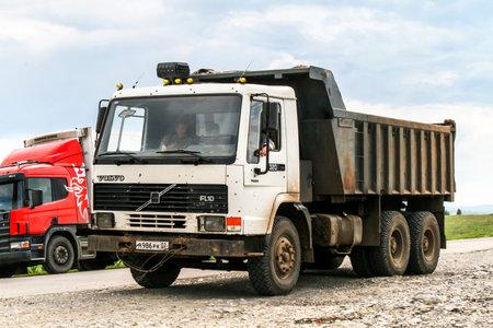 Bashkortostan, Russia - July 6, 2008: Dump truck Volvo FL10.320 at the interurban road.