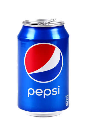 Aluminium can of the Pepsi isolated over white background Editorial