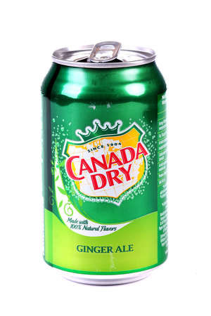 Aluminium can of the Canada Dry Ginger Ale isolated over white background