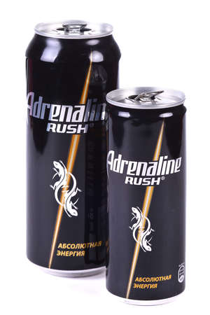 Aluminium cans of the Adrenaline Rush isolated over white background