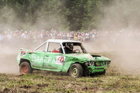 Iglino, Russia - July 7, 2018: Undefined competitor's Lada 2106 takes part in the Ural Star Demolition Derby.