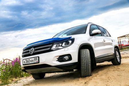 Novyy Urengoy, Russia - July 17, 2018: Motor car Volkswagen Tiguan in the city street. Editorial