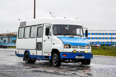 Novyy Urengoy, Russia - July 17, 2014: Small passnger bus KAvZ 3244 Bychok in the city street.